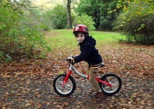 Boy on balance bike in autumn leaves