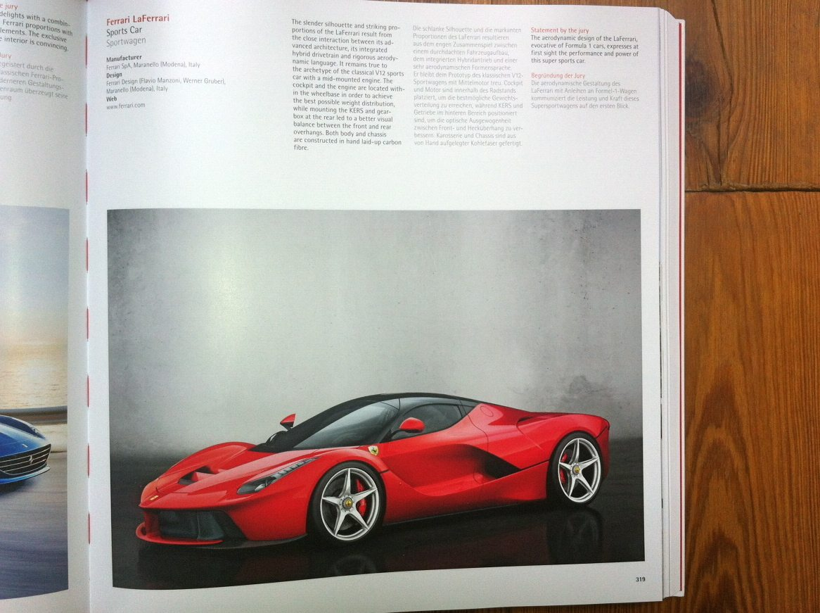 Ferrari - Le Ferrari in the Red Dot Design Yearbook 2015