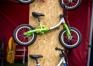 LittleBig in balance bike and pedal bike mode at a mountain bike race in Wicklow, Ireland