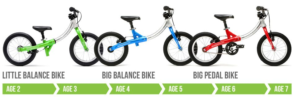 LittleBig bike adapts from a no pedal balance bike into a big pedal bike for kids