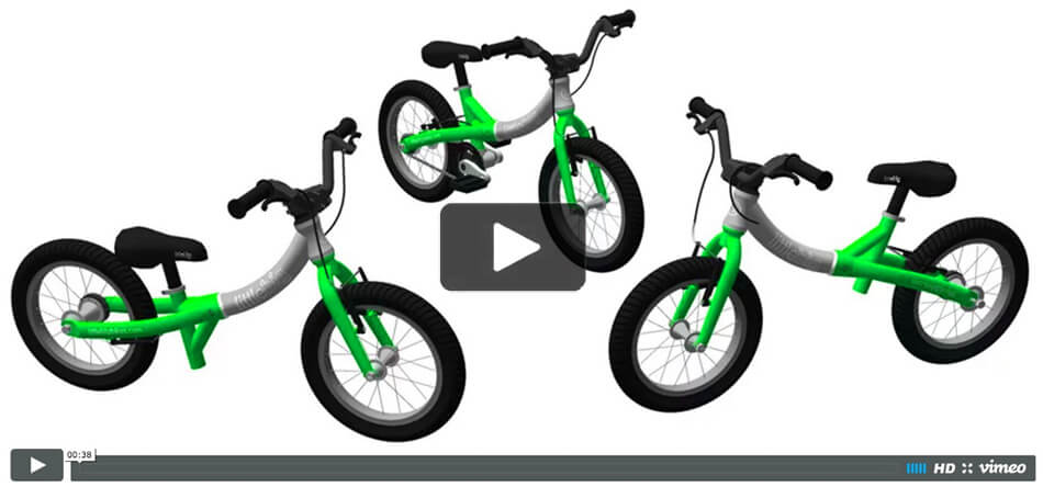 Play video to see how the LittleBig adapts from a balance bike to a pedal bike