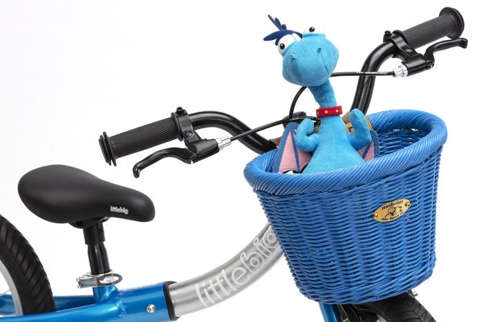 blue nantucket basket fitted to blue bike