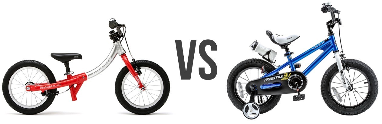 balance bike versus kids pedal bike with stabilisers/ training wheels