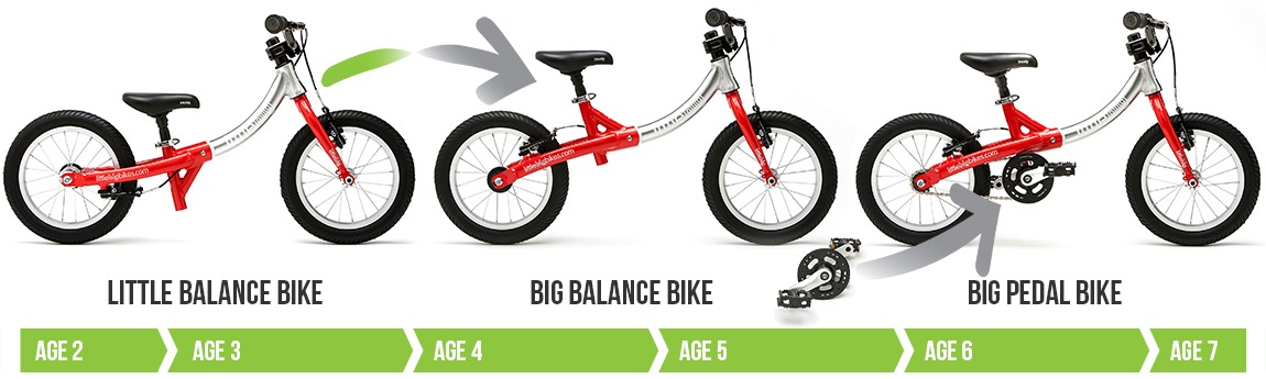 LittleBig bike in balance bike and pedal bike modes, for kids age 2-7
