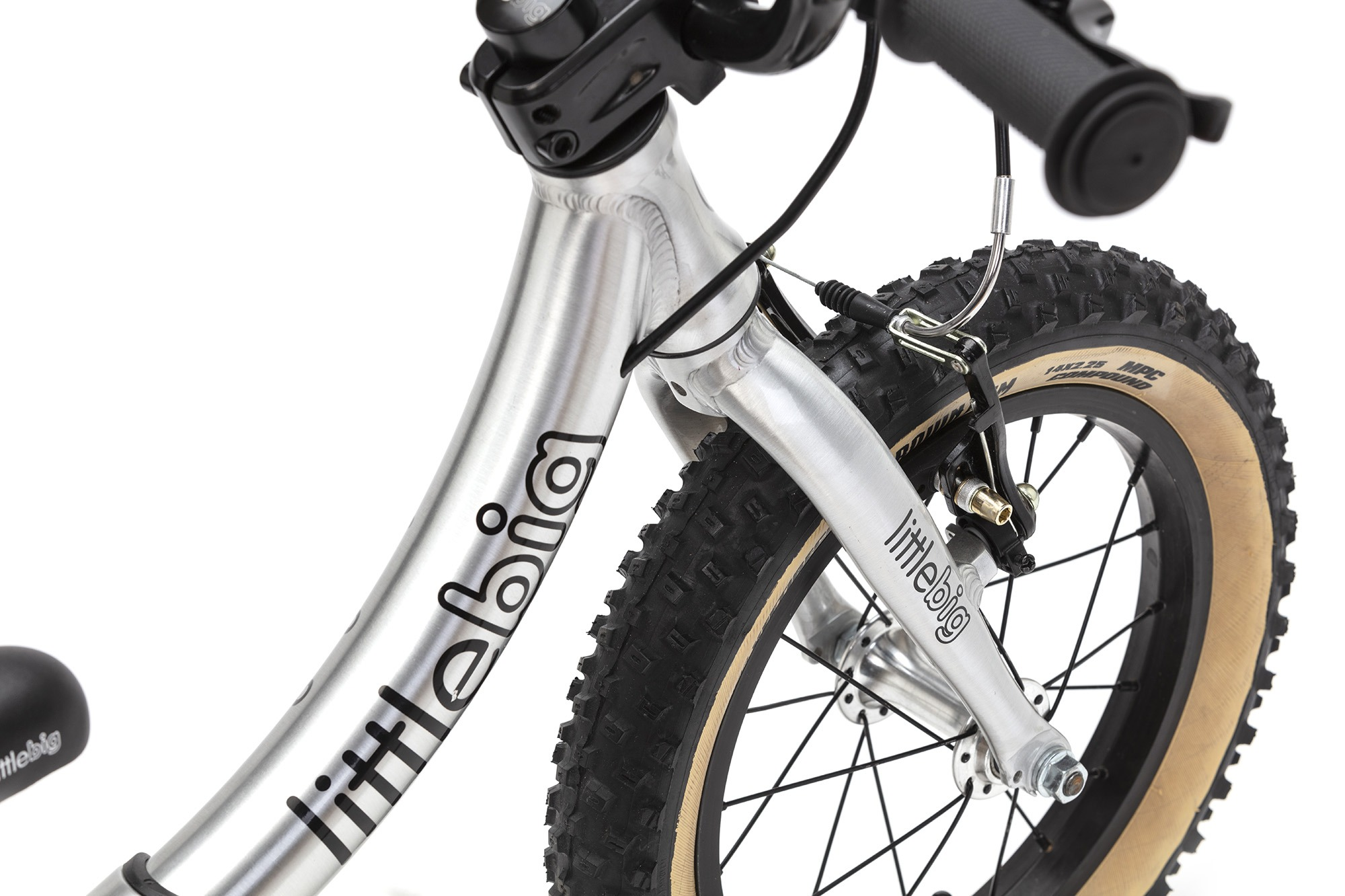 brushed balance bike fork and tyre detail