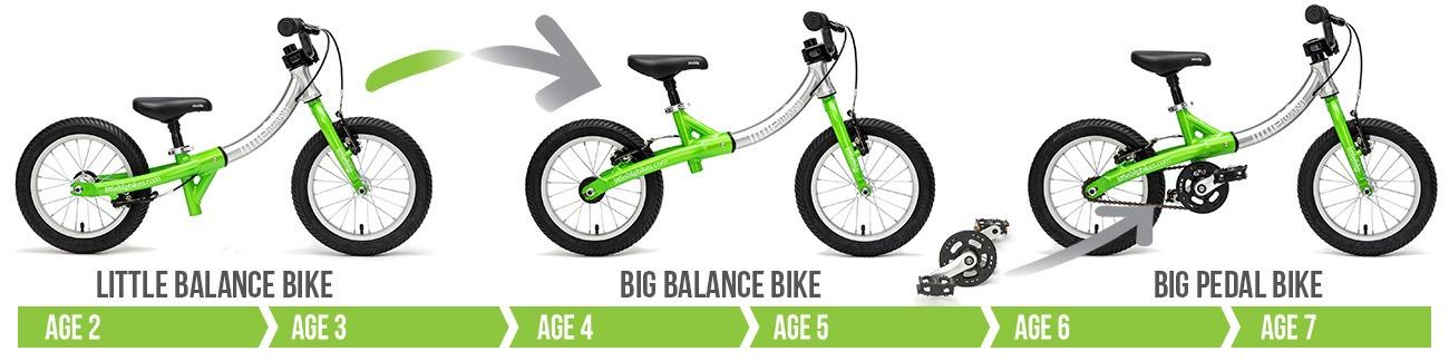 LittleBig bike in balance bike and pedal bike modes, for kids age 2-7